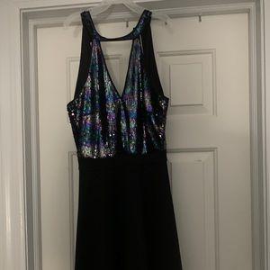 Francescas Black Sequin Halter dress size small